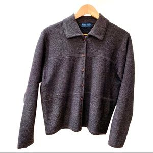Karen Scott Collared Wool Cardigan Gray Size Large